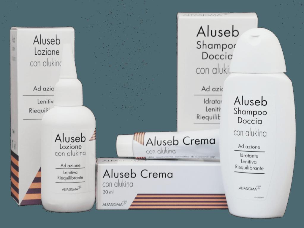 Prodotti Aluseb con Alukina contro la dermatite seborroica